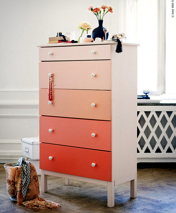 Old dresser spices - creative ideas on how to decorate furniture