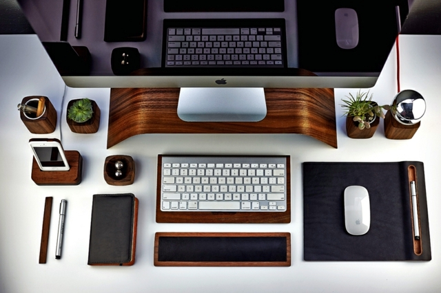 Desk accessories mouse pad keyboard tray co wood for Menuiserie stand