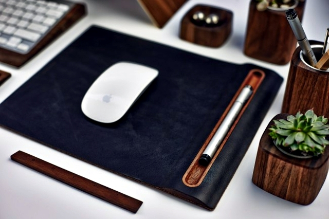 desk accessories mouse pad, keyboard tray & Co Wood
