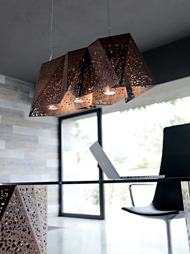 Contemporary pendant lamp wood products plays of light and shadow