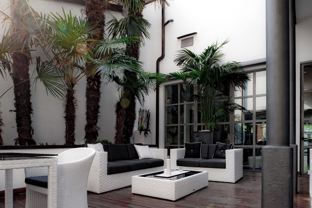 Furniture modern living room by the garden and the terrace of idleness