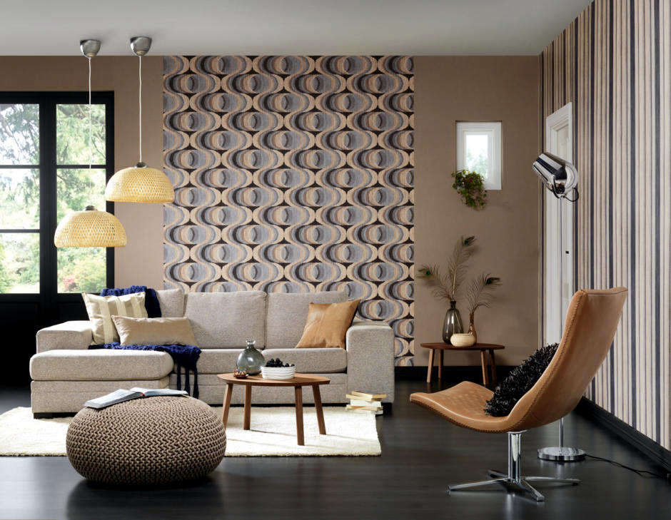 Retro wallpaper in the living room | Interior Design Ideas ...