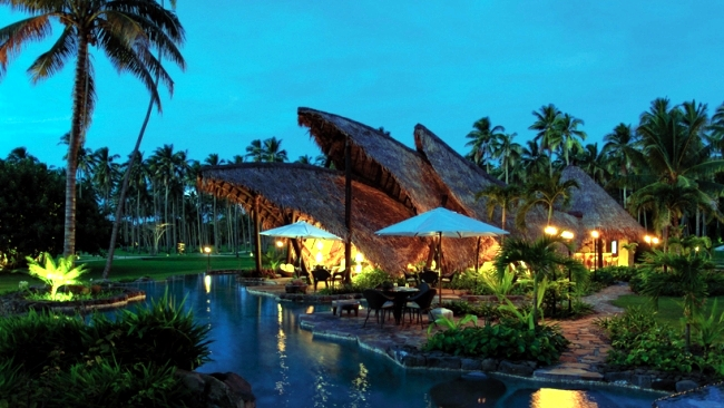 Complex quiet luxury villas on the private island of Laucala, Fiji