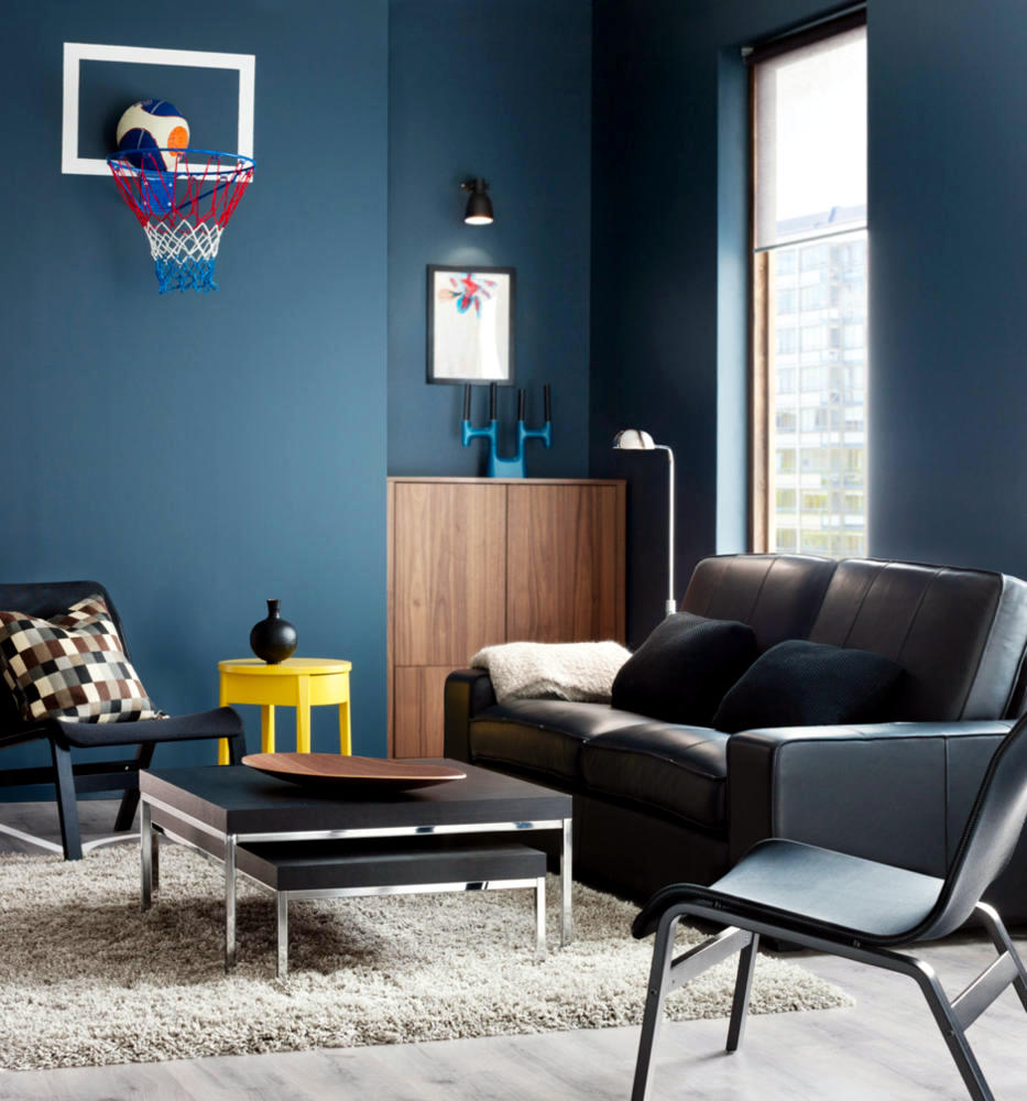 Color set in blue gray interior design ideas ofdesign for Decoration murale jaune moutarde
