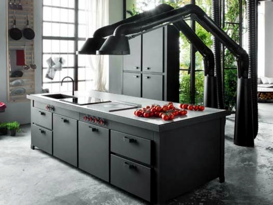 Modern fitted kitchen with cooking island brings home for Modern fitted kitchen