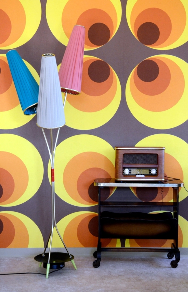 Installation In Retro Style Furniture And The Colors Of 60s