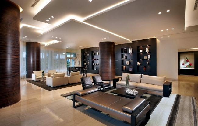 Wonderful 33 Examples Of Modern Living Room Ceiling Design.