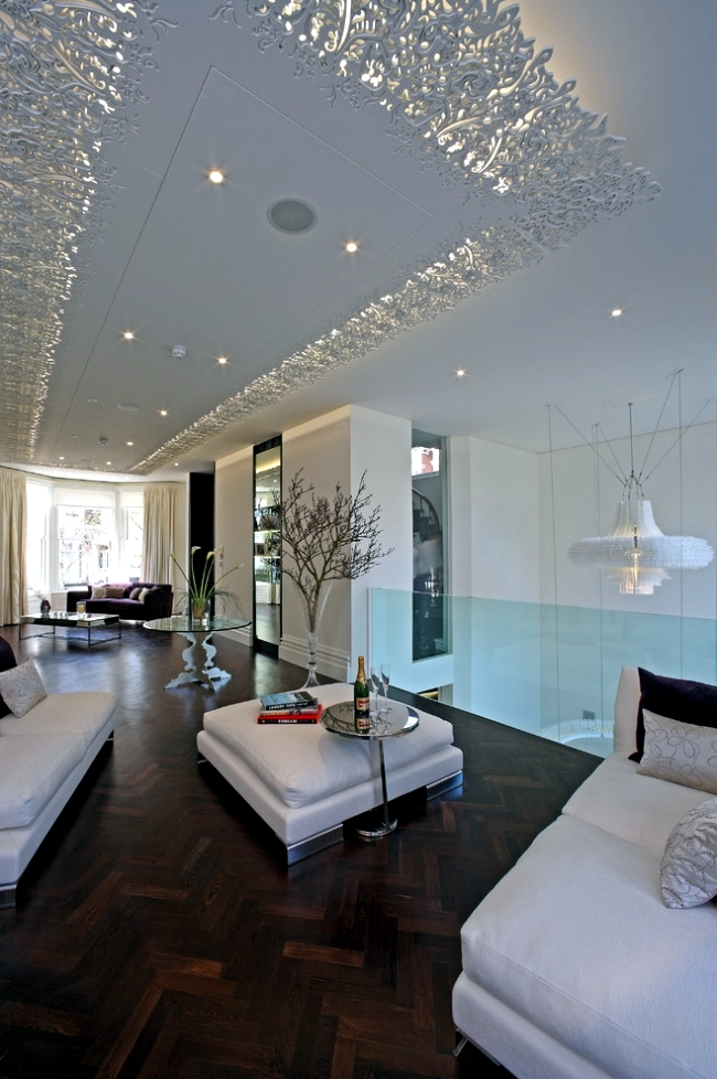 33 examples of modern living room ceiling design for Modern living room ideas for apartment