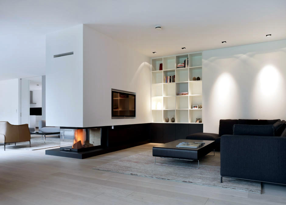 Built As A Separator In The Living Room Fireplace Interior