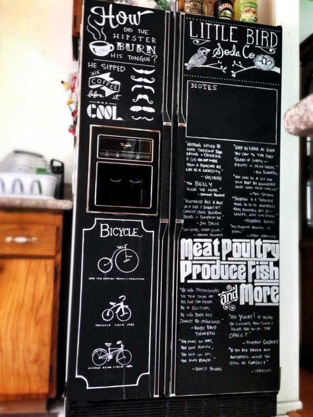 The old refrigerator while ideas with stickers and chalkboard paint