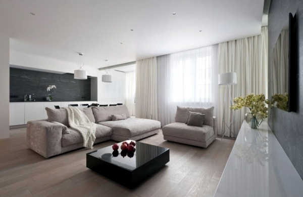 Neutral colors feature a modern apartment in Moscow
