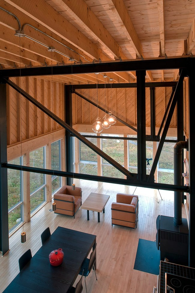Modern wooden house on the rock on the coast of Nova Scotia
