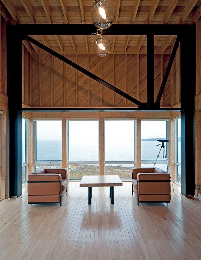 Modern Wooden House On The Rock On The Coast Of Nova