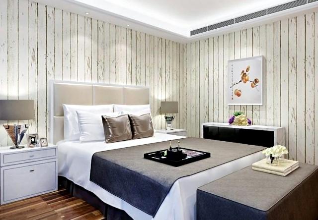 Wood Look Wallpaper Brings Up Pleasure In The Bedroom Interior Design Ideas Ofdesign