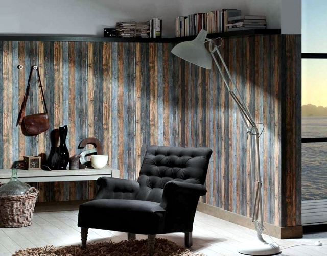 Wallpaper on the appearance of wood evokes pleasure in the for Wood wallpaper bedroom
