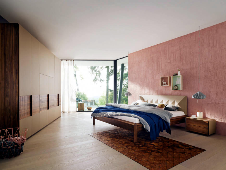 Wooden furniture and pink wall in the bedroom | Interior Design ...