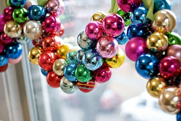 Multi Coloured Christmas Decorations - Christmas Lights Card and Decore