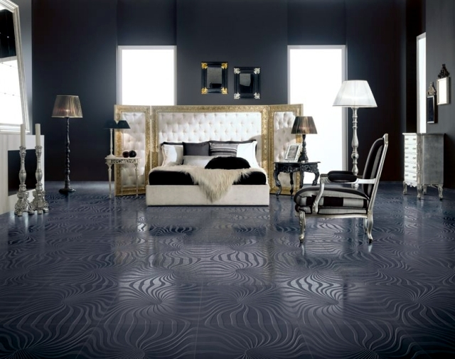 Chic wall and floor tile provide a visual description