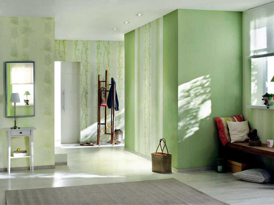 Green Tones With Subtle Patterns Interior Design Ideas