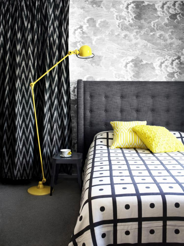 yellow retro lamp in the bedroom interior design ideas. Black Bedroom Furniture Sets. Home Design Ideas