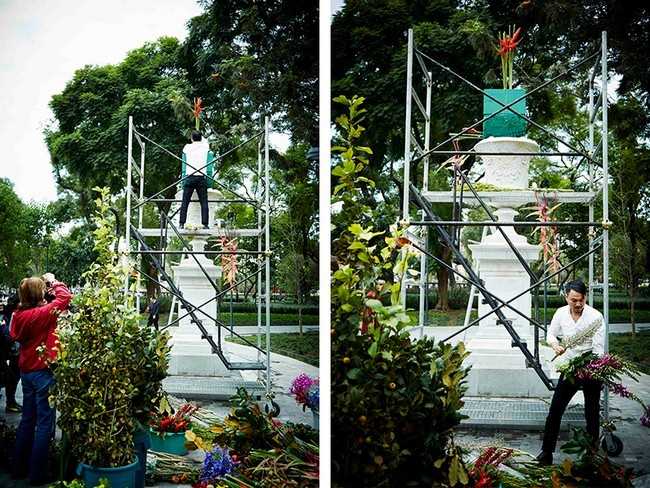 Beautiful sculptures of flowers decorate the park in Mexico