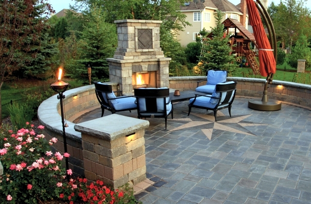 Fireplace in the garden construction – 24 ideas for a ...