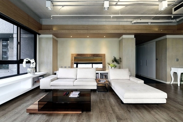The interior design of modern apartment in an urban style ...