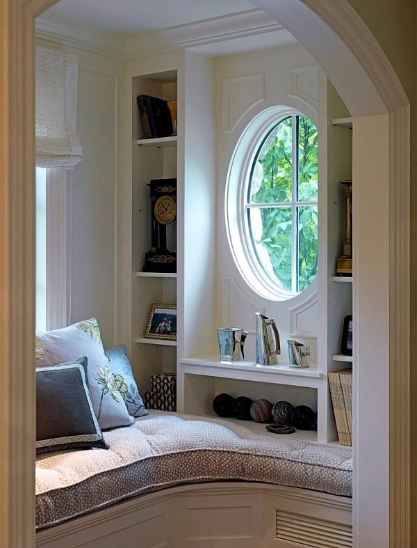 comfortable window seat set light reading corner