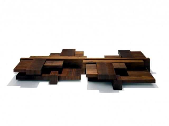 Wooden coffee table has an asymmetrical design