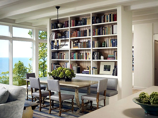 Organize and focus on internal library wall shelf in the living room ...