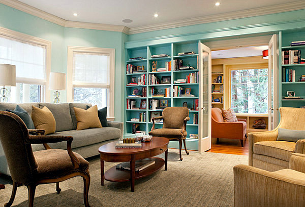 organize and focus on internal library wall shelf in the living room interior design ideas