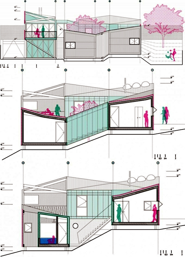 House on a hill with a seven-volume modular building construction