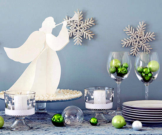 Craft Advent-Christmas decoration with stars and angels