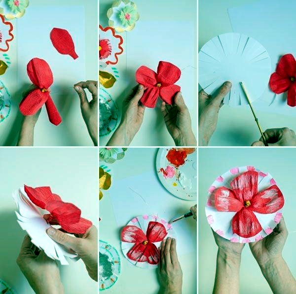 Flowers fancy craft paper and paint - tutorial