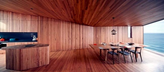 Modern house on the coast of Australia with an asymmetrical shape