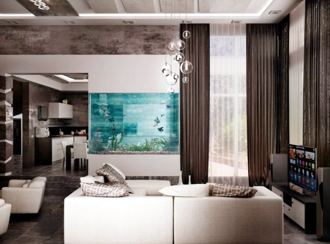Living In Black And White 100 Ideas Integrate Aquarium Designs The Wall Or Room