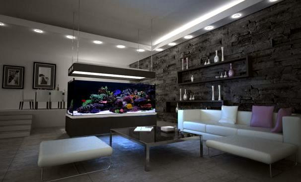 100 ideas integrate aquarium designs in the wall or in the living room interior design ideas. Black Bedroom Furniture Sets. Home Design Ideas