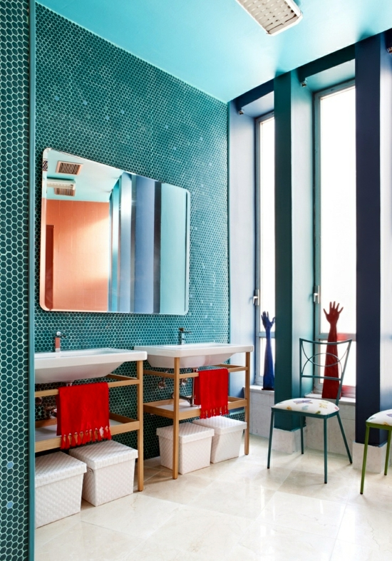 The Ideas Of Interior Design For The Bathroom Starts With The Selection Of  Colors. Fashion Colors Are Now Blue, Pink, Purple And Green.