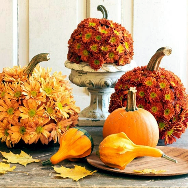 15 autumn decoration ideas with flowers and fruits for for Autumn flower decoration