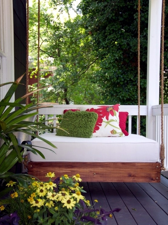 16 beautiful bed design ideas for hanging on the terrace or in the garden