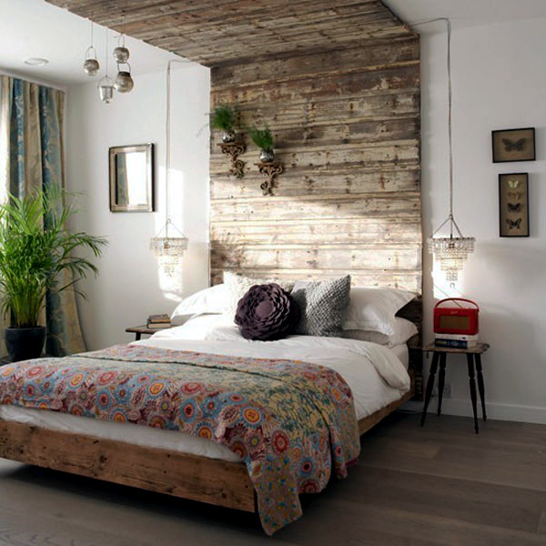 20 ideas for attractive wall design behind the bed in the bedroom