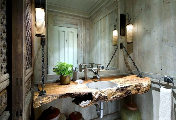 Basin Of Weathered Wood 20 Ideas For Rustic Bathroom   Bathroom Furniture  Made Of Wood And Natural Stone