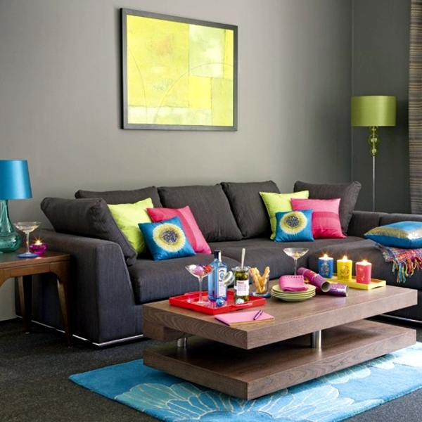23 cozy living room interior design ideas with decoration for Bright coloured living room ideas