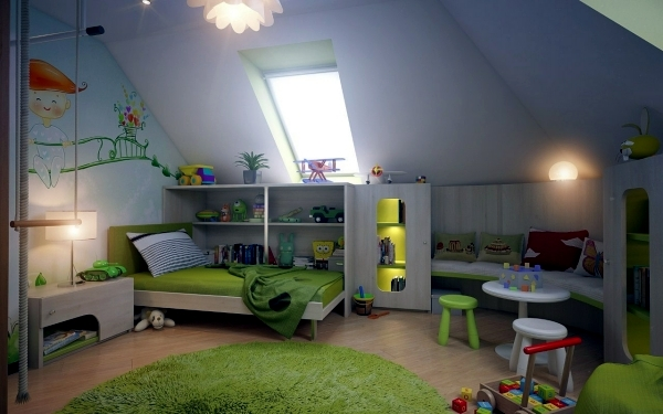 23 decorating ideas for kids room with pitched roof