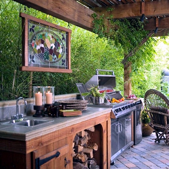 Outdoor Kitchen Roof: 24 Fabulous Ideas For Patio Roof Made Of Wood In The