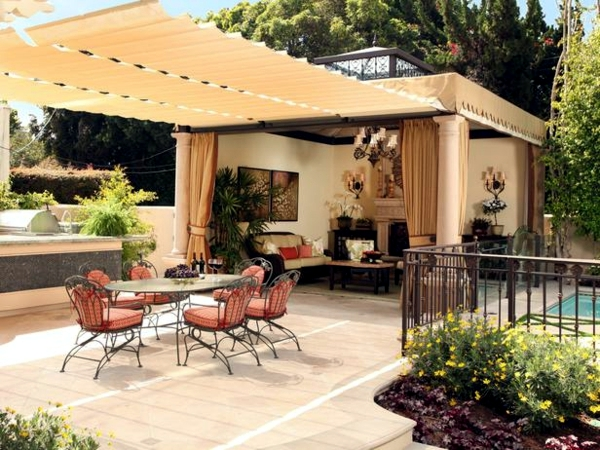 25 ideas for sun protection in the garden pergola, awning or canopy ...