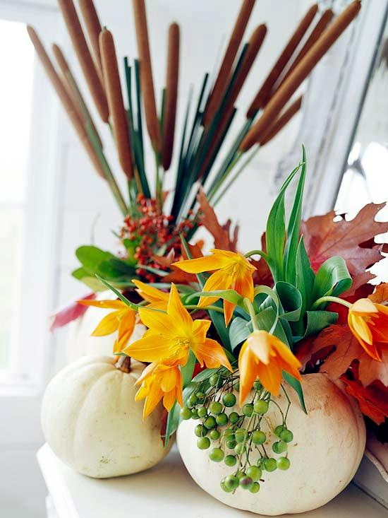 32 autumn decoration with pumpkins and halloween ideas for for Autumn flower decoration