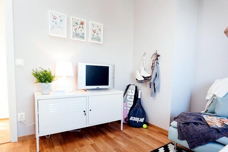 A blue-gray Scandinavian interior