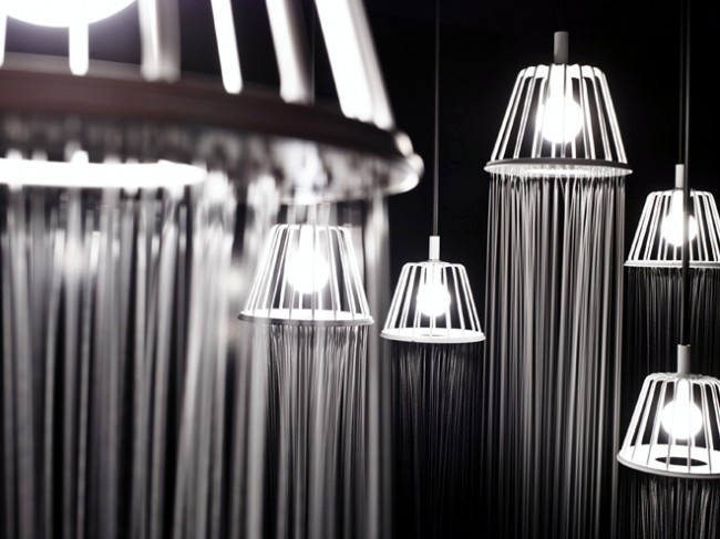 A hybrid design of luminaire and shower by Nendo for Axor