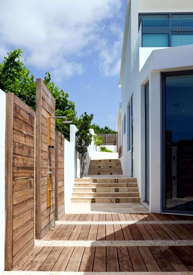 private ferienhaus anguilla küche corian arbeitsplatte holzfronten